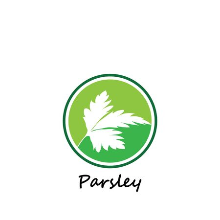 Green parsley twig, shoot, sprig. Icon Isolated on white. Logo for eco company, agriculture, nature firm, ecology, healthy organic and farm fresh food. Vector Illustration. kitchen herbs Illustration