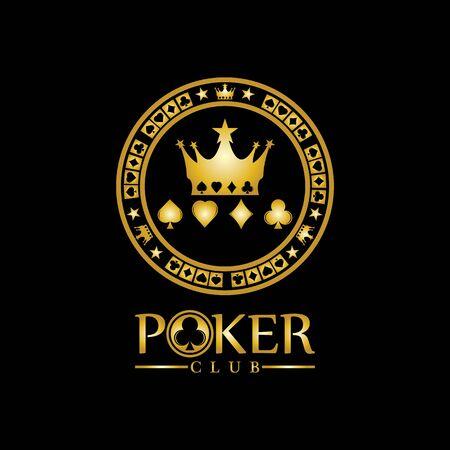 Gold King Poker logo design vector on black background
