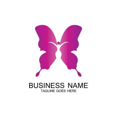 beauty flying women vintage butterfly logo design-vector