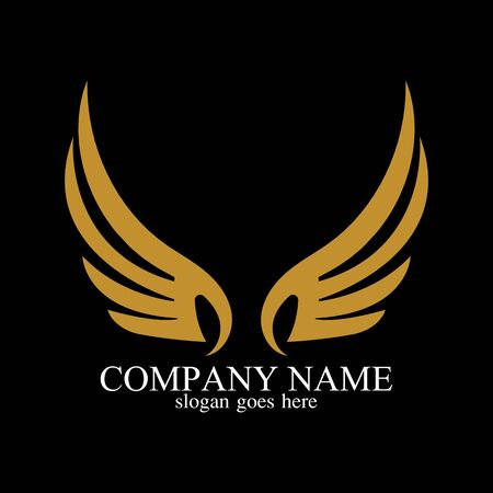 wings gold  vector illustration template-vector