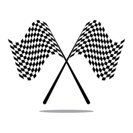 Icône de drapeau de course, vecteur d'illustration de conception simple Vecteurs