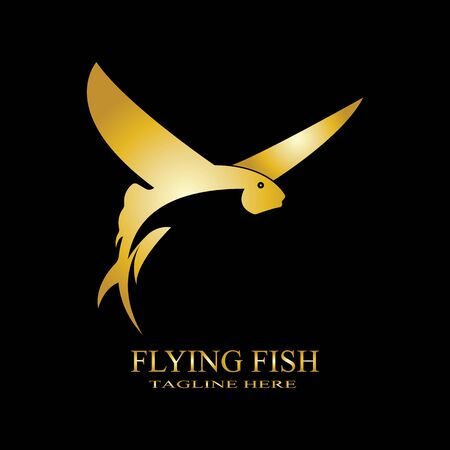 gold flying fish logo vector icon design template
