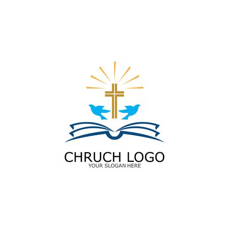 logo church.christian symbol,the bible and the cross of jesus christ-vector