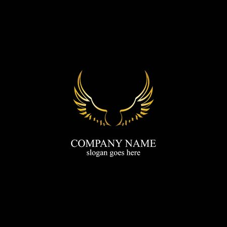 wings gold logo vector illustration template-vector
