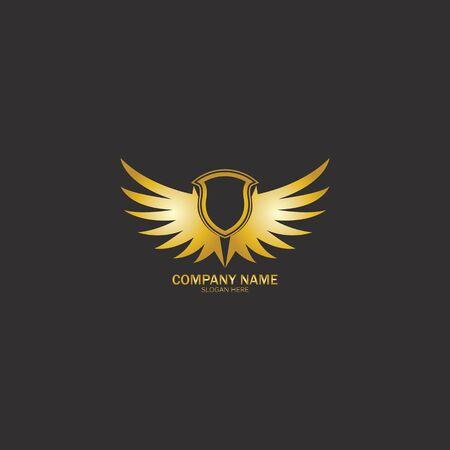 winged shield gold logo design symbol vector illustration-vector