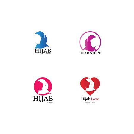muslimah hijab logo template vector illustration design-vector