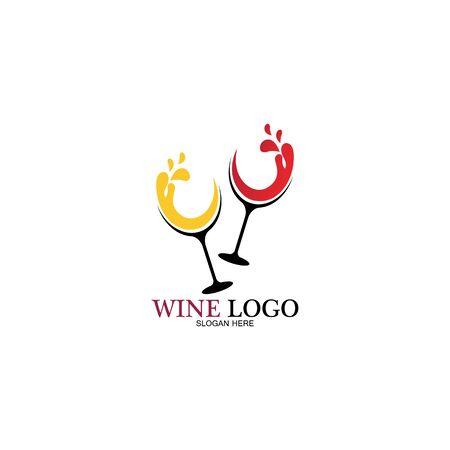 Wine logo design template.vector illustration of icon-vector Logo