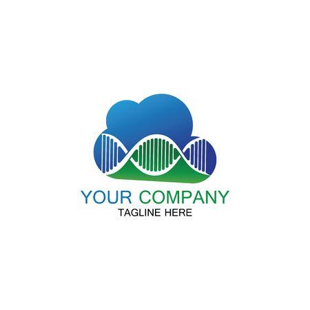 DNA Cloud logo vector design template-vector Иллюстрация