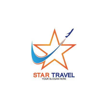 Star travel logo design. Travel agency logo design. Amazing destinations creative symbol concept.