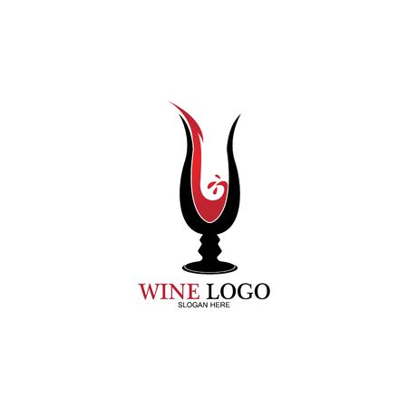 Wine logo design template.vector illustration of icon-vector