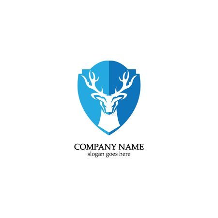 Deer hunter with shield logo design, Wild animal vector, Head deer illustration 스톡 콘텐츠 - 148324945