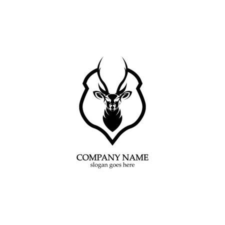 Deer hunter with shield logo design, Wild animal vector, Head deer illustration 스톡 콘텐츠 - 148325003