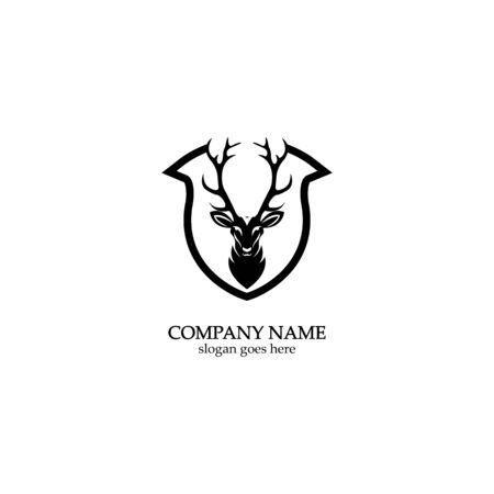 Deer hunter with shield logo design, Wild animal vector, Head deer illustration