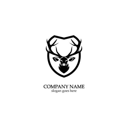 Deer hunter with shield logo design, Wild animal vector, Head deer illustration 스톡 콘텐츠 - 148325008