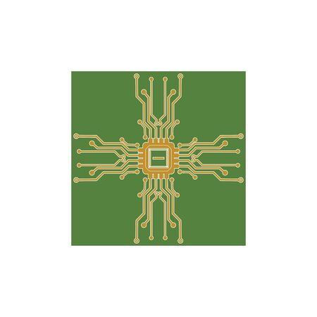Flat Microelectronics Circuits. Circuit board vector, green background. Illustration