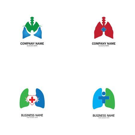 lung health and care logo template,emblem,design concept,creative symbol,icon,vector illustration. Ilustração