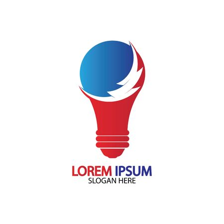 Bulb energy thunder bolt concept logo icon vector template