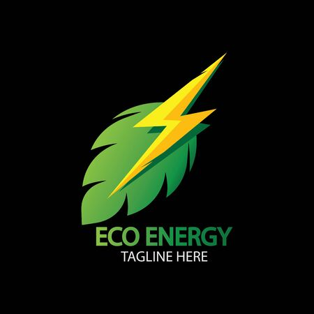 Eco Energy   with leaf symbol. Green color with flash or thunder graphic. Nature and electricity renewable. Illustration
