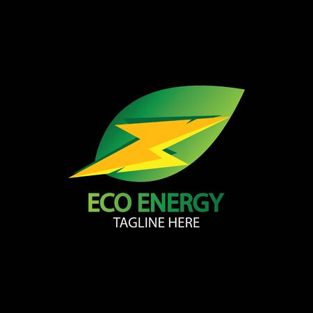 Eco Energy Vector Logo with leaf symbol. Green color with flash or thunder graphic. Nature and electricity renewable.