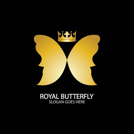 Golden Butterfly icon. Royal butterfly logotype