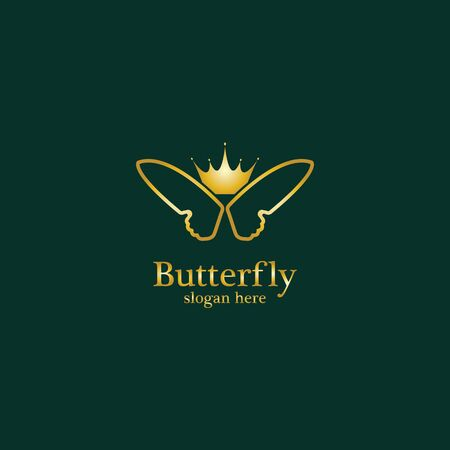 Golden Butterfly  . Royal butterfly logotype Çizim