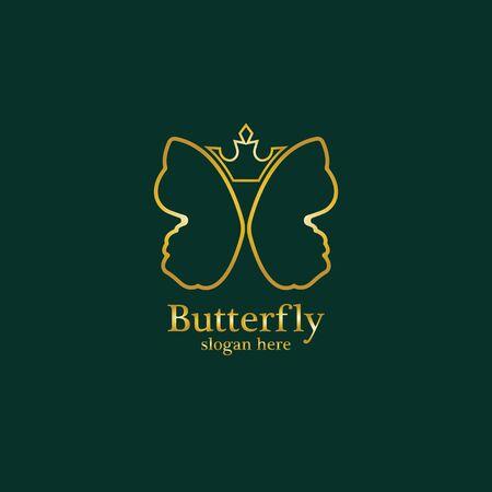Golden butterfly on black background. Icon template for beauty salon,spa salon,etc.