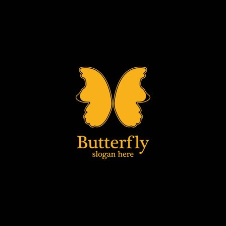 Golden butterfly on black background. Icon template for beauty salon,spa salon,etc.