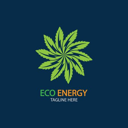 Eco Energy Vector Logo with leaf symbol. Green color with flash or thunder graphic. Nature and electricity renewable. This logo is suitable for technology, recycle, organic.