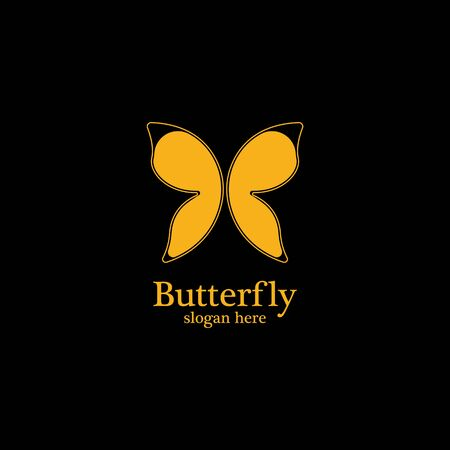 Golden butterfly on black background.logo template for beauty salon,spa salon,etc. Illustration