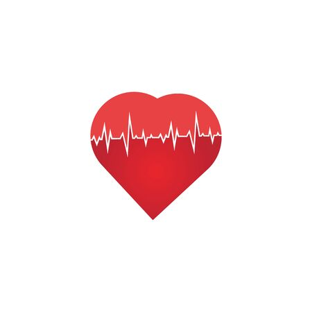 Heart rate icon - health monitor. Red Heart Rate.Blood pressure vector icon, heart cheering cardiogram, good health logo, healthy pulse flat symbol, medical pulsometer element. Illusztráció