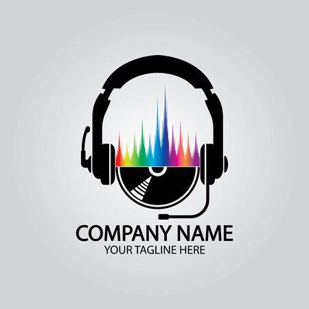 Headphone DJ, Music Studio Recording, Soundwave Logo Design Inspiration