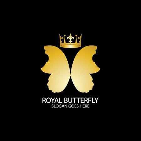 Golden Butterfly logo. Royal butterfly logotype Logo