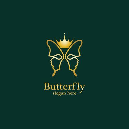 Golden Butterfly logo. Royal butterfly logotype
