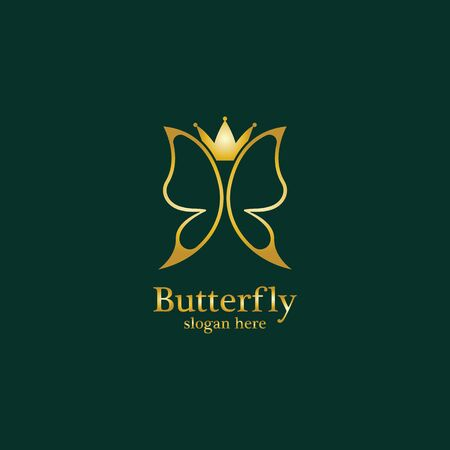 Golden Butterfly logo. Royal butterfly logotype