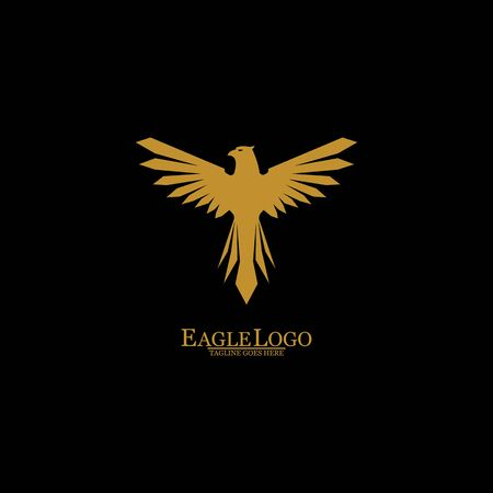 Golden Eagle with Black Background, Vector, Illustration