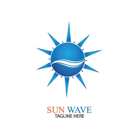 Water wave and sun icon vector illustration design logo Logó
