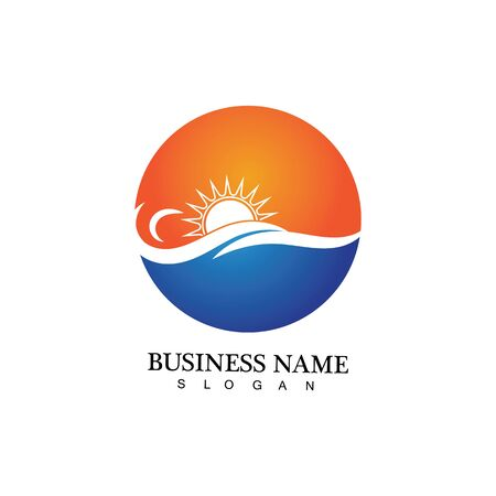 Water wave and sun icon vector illustration design logo