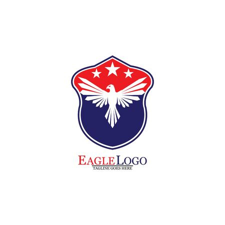 Eagle logo template design with a shield and stars. Vector illustration.