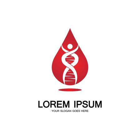 Blood DNA genetic icon sign logo