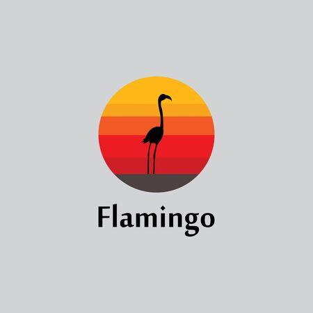flamingo silhouette scene at sunset logo design vector