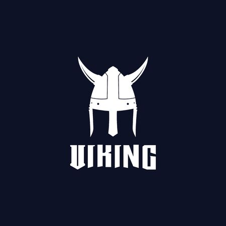 Viking helmet logo design vector template