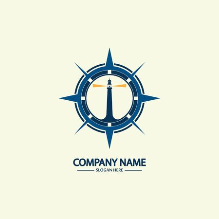 Compass and lighthouse logo design template