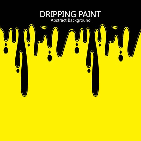 Black ink dripping  paint spill leaking on yellow background. Vector illustration.