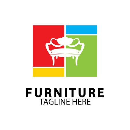 Abstract furniture logo design concept. Symbol and icon of chairs  sofas  tables  and home furnishings.