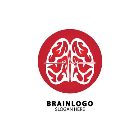 Brain logo designs concept vector, Health Brain Pulse logo, Brain care  logo template vector