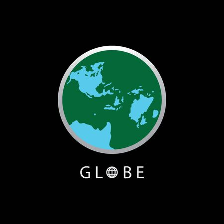 Globe map round earth logo vector image,Vector earth globes isolated on black background.