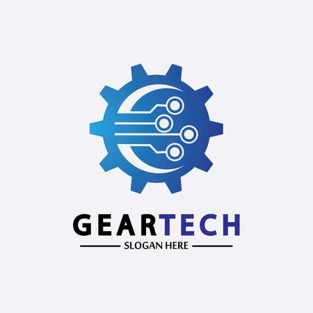 Tech gear logo vector design template. Technology Logo Template Design Vector, Emblem, Design Concept, Creative Symbol, Icon Logo