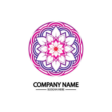 Flower logo. The circular logo. Logo of the flower. Stylized flower. Petals. Simple logo. The brand name  emblem  logo. Mandala. Logo boutique. Logotype for beauty. Logo for flower shop.