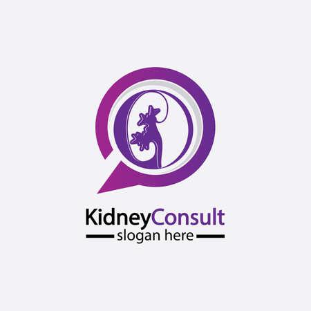 Kidney Consult logo designs concept vector, Kidney Healthcare logo template,Urology logo vector template.