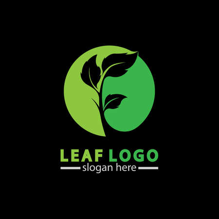 Abstract green leaf logo icon vector design isolated on black background. Landscape design  garden, Plant,spa, nature and ecology vector logo. 스톡 콘텐츠 - 152695618